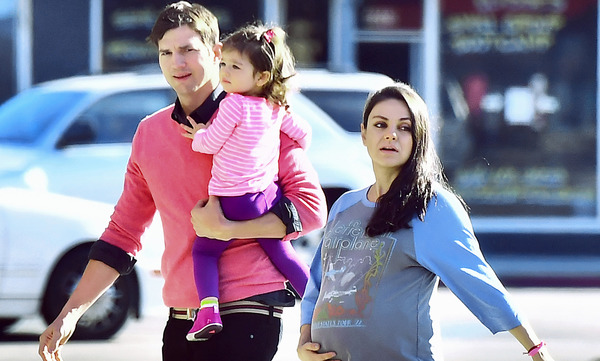 Ashton Kutcher, pregnant Mila Kunis and their daughter