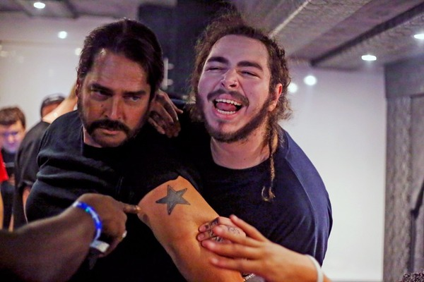 Post Malone father Rich Post (left) with his son