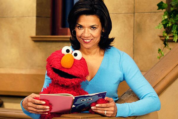 Sonia Manzano (Maria) and Elmo at Sesame Street
