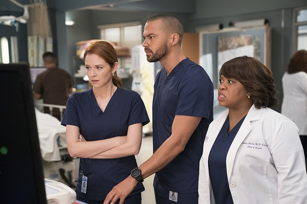 Sarah Drew, Jesse Williams, and Chandra Wilson in Grey's Anatomy