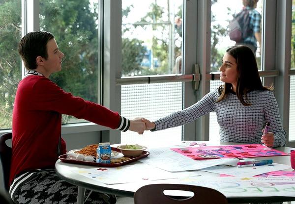 Lea Michele and Chris Colfer in Glee