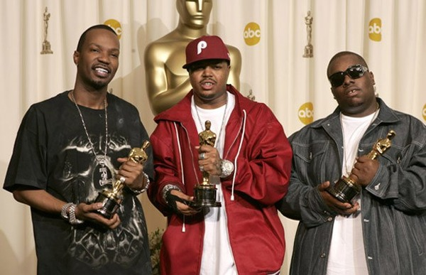 Jordan Houston, Paul Beauregard and Cedric Coleman with Oscars for the song It's Hard out Here for a Pimp