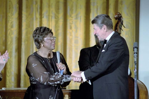 Ella Fitzgerald and Ronald Reagan after her performnace in the White House