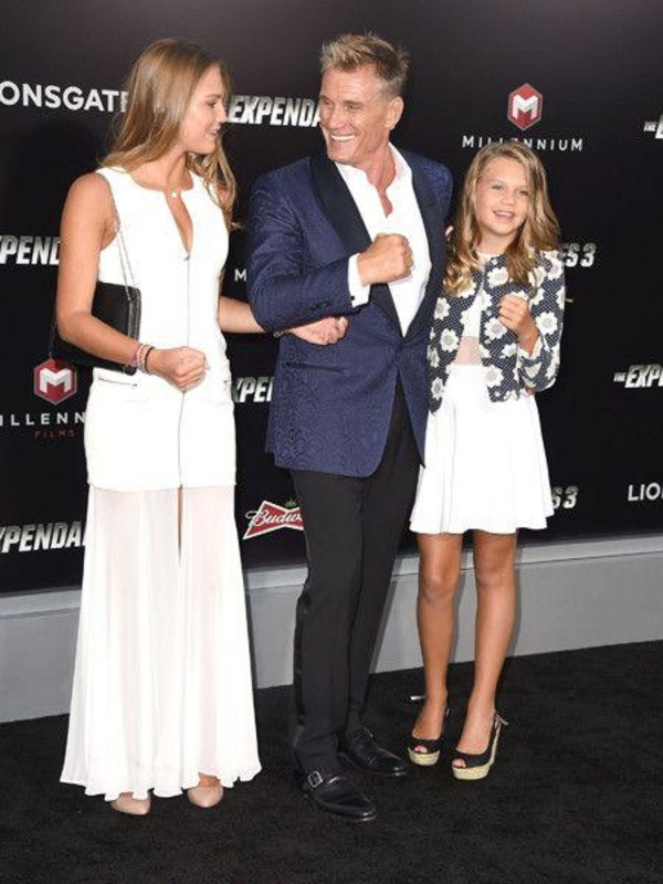 Dolph Lundgren with daughters